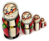 Santa 5 Nesting Wooden Dolls, Hand Carved and Hand Painted