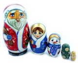 Santa 5 Nested Wooden Dolls, Hand Carved and Hand Painted