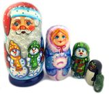 5 Nesting Wooden Doll with Snowman, Snow Maiden and Penguin