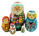 5 Nesting Wooden Doll with Santa, Snow Maiden and Boy
