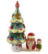 Wooden Christmas Decorations Surprise Tree, 3 Pieces