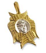 Seraphim Angel with Six Wings, Gold Plated Pendant