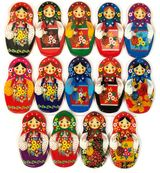 Set of 16 Matreshka Magnets, 3 1/2""