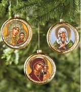 Set of 3 Durable Glass  Icon Ornaments, Christmas Decoration