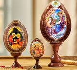 The Nativity, Set of 3 Wooden Icons Eggs with Stand Holders