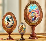 Set of 3 Wooden Icons Eggs with Stand Holders