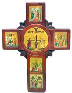 Wooden Wall Icon Cross with Set of Framed Orthodox Icons, Large