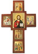 Serigraph Icon Cross with Set of Framed Orthodox Festal Icons