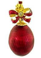 Faberge Style Egg Pendant with Bow, Sterling Silver 925, Gold Plated