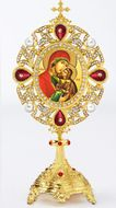 Saint Anna and Virgin Mary Icon in Pearl Jeweled Shrine - Monstrance Style
