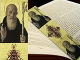 St Benedict, Textile Art Tapestry  Icon  Book Marker