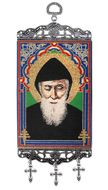 "Saint Charbel (Makhlouf), Tapestry Icon Banner, `10"" H"