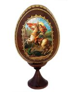 Saint George, Wooden  Icon  Egg with Stand