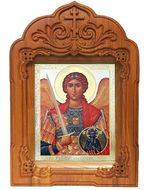 Archangel Michael Icon in Oak Wooden Shrine With Glass