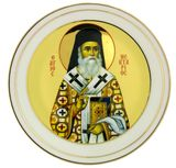 St Nectarios, Round Ceramic Icon Plate, Medium