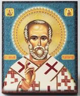 Saint Nicholas, Embossed Printing on Wood Orthodox Icon