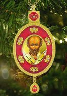 St Nicholas, Faberge Style Framed Icon Pendant with Chain