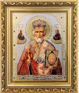 St Nicholas the Wonderworker, Framed Icon with Crystals & Glass