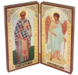 St Nicholas & Guardian Angel, Foldable  Diptych Icon