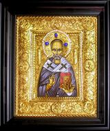 St Nicholas, Hand Decorated Framed Icon in Silver / Gold Plated Oklad
