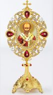 Saint Nicholas Icon in Pearl Jeweled Shrine - Monstrance Style