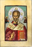 St Nicholas the Wonderworker, Silver Crystals Wood Serigraph Icon
