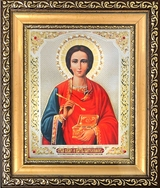 St Panteleimon,  Framed Orthodox Icon with Crystals and Protective Glass