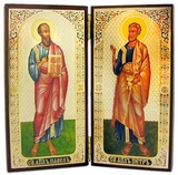 St Peter & St Paul  Wooden Diptych,  Boxed