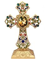Standing Jeweled Cross with Nativity Scene Icon