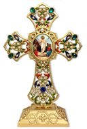 Standing Jeweled Cross with  Resurrection of Christ Icon