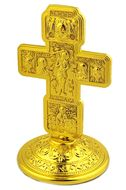 Greek Style Metal Gold Tone Standing Cross, Small