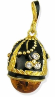 Egg Pendant with Amber, Silver 925, 18kt Gold Plated