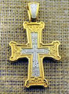 Sterling Silver 925, 22K Gold Plated Orthodox Cross