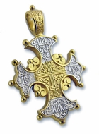 Reversible Orthodox Cross with Lilies, Sterling Silver, Gold Plated