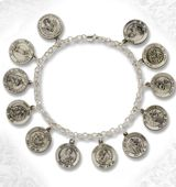 Sterling Silver  Bracelet with Linked 12 Medal Charms