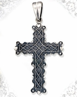 Sterling Silver Cross with Antique Finish, 1 1/2""