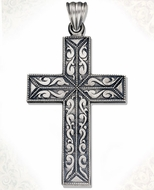 Sterling Silver Cross with Antiqued Finish,  2  1/2""