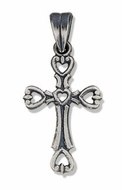 Sterling Silver Cut Out Cross with Antiqued Finish, 1 1/16""