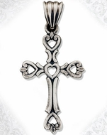 Sterling Silver Cut Out Cross with Antiqued Finish, 1 3/8""