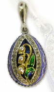 """Lilies of the Valley"",  Enameled  Egg Pendant with Pearls,  Silver 925, Gold Plate"