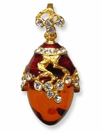Sterling Silver Enameled  Pendant Egg, 24Kt Gold Plated  with Amber