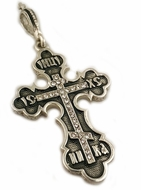 Sterling Silver Orthodox Three Bar Cross with Swarowski Crystals