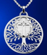 "Sterling Silver Pendant ""Tree of Life"" with Holy Cross"