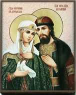 Sts. Peter and Fevronia of Murom,  Embossed Printing on Thick Wood Orthodox  Icon