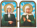 St. Blessed Xenia of St Petersburg and Matrona of Moscow, Wooden Mini Diptych