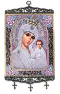 Virgin of Kazan,  Textile Art  Tapestry Icon Banner Large