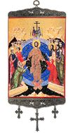 Pascha - Resurrection of Christ,   Textile Art  Tapestry Icon Banner Large