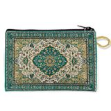 Tapestry Pouch Case Purse, Green-Gold