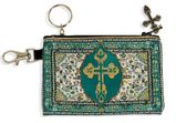 Tapestry Holder for Rosary with Key Chain, Green-Gold