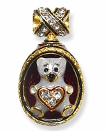 Teddy Bear With Heart, Faberge Style Egg  Pendant, 24KT Gold Plated